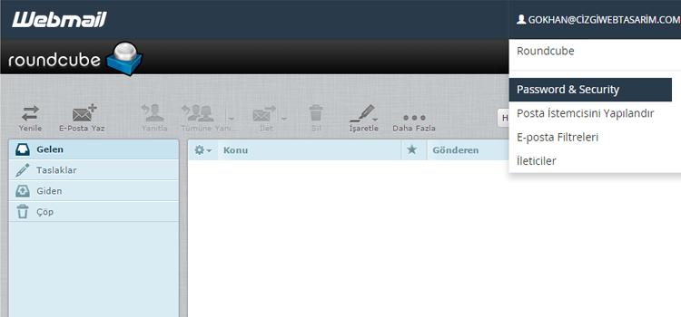 web mail şifre değiştirme